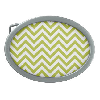 Green and White Zigzag Stripes Chevron Pattern Belt Buckles