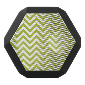 Green and White Zigzag Stripes Chevron Pattern Black Bluetooth Speaker