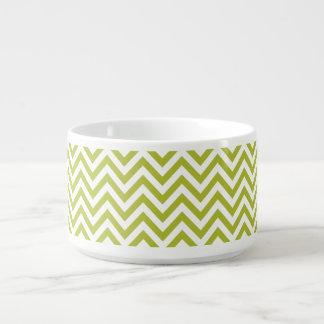 Green and White Zigzag Stripes Chevron Pattern Bowl