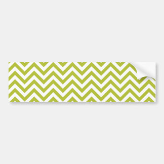 Green and White Zigzag Stripes Chevron Pattern Bumper Sticker