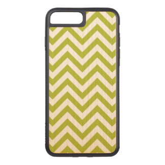 Green and White Zigzag Stripes Chevron Pattern Carved iPhone 8 Plus/7 Plus Case