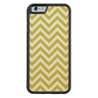 Green and White Zigzag Stripes Chevron Pattern Carved Maple iPhone 6 Bumper Case