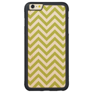 Green and White Zigzag Stripes Chevron Pattern Carved Maple iPhone 6 Plus Bumper Case