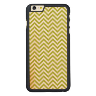 Green and White Zigzag Stripes Chevron Pattern Carved Maple iPhone 6 Plus Case