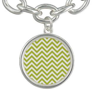 Green and White Zigzag Stripes Chevron Pattern Charm Bracelets