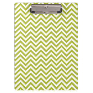 Green and White Zigzag Stripes Chevron Pattern Clipboard