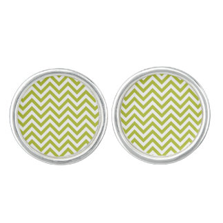 Green and White Zigzag Stripes Chevron Pattern Cufflinks