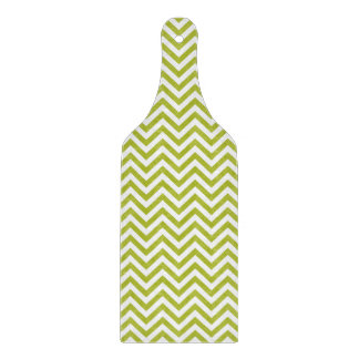Green and White Zigzag Stripes Chevron Pattern Cutting Board
