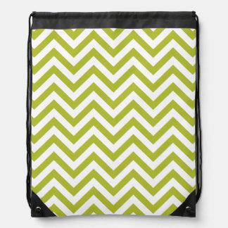 Green and White Zigzag Stripes Chevron Pattern Drawstring Bag