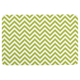Green and White Zigzag Stripes Chevron Pattern Floor Mat