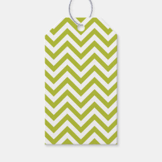 Green and White Zigzag Stripes Chevron Pattern Gift Tags