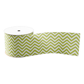 Green and White Zigzag Stripes Chevron Pattern Grosgrain Ribbon
