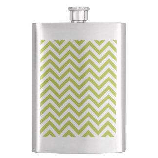 Green and White Zigzag Stripes Chevron Pattern Hip Flask