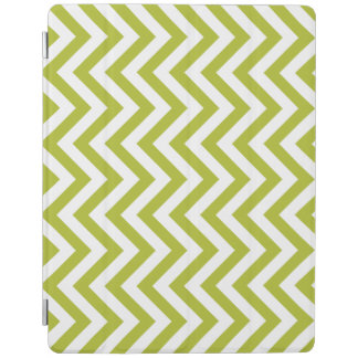 Green and White Zigzag Stripes Chevron Pattern iPad Cover