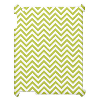 Green and White Zigzag Stripes Chevron Pattern iPad Covers
