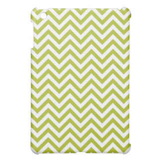 Green and White Zigzag Stripes Chevron Pattern iPad Mini Cases