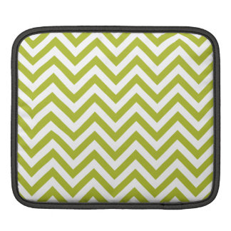 Green and White Zigzag Stripes Chevron Pattern iPad Sleeve