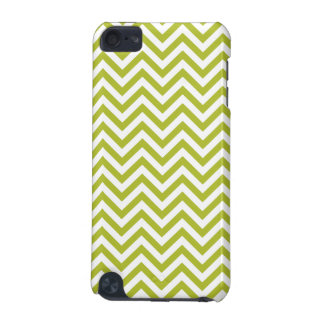 Green and White Zigzag Stripes Chevron Pattern iPod Touch 5G Case