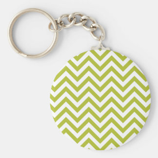 Green and White Zigzag Stripes Chevron Pattern Keychain