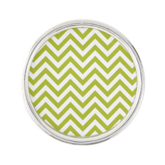 Green and White Zigzag Stripes Chevron Pattern Lapel Pin