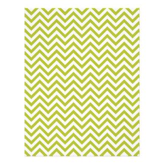 Green and White Zigzag Stripes Chevron Pattern Letterhead