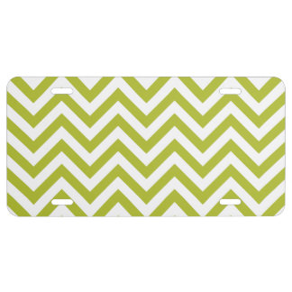 Green and White Zigzag Stripes Chevron Pattern License Plate