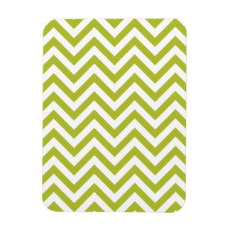 Green and White Zigzag Stripes Chevron Pattern Magnet