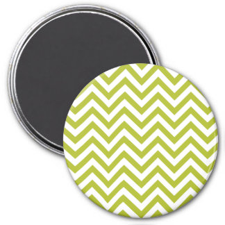 Green and White Zigzag Stripes Chevron Pattern Magnet