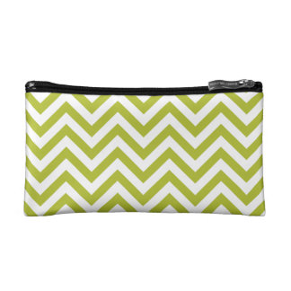 Green and White Zigzag Stripes Chevron Pattern Makeup Bag