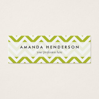 Green and White Zigzag Stripes Chevron Pattern Mini Business Card