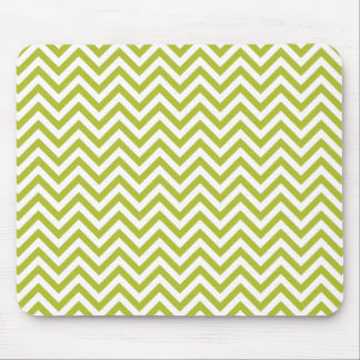 Green and White Zigzag Stripes Chevron Pattern Mouse Pad