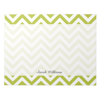 Green and White Zigzag Stripes Chevron Pattern Notepad