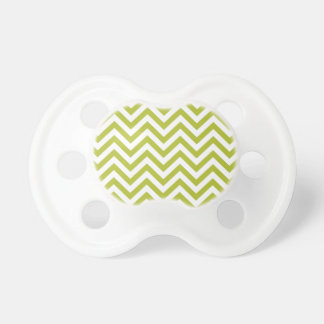 Green and White Zigzag Stripes Chevron Pattern Pacifier
