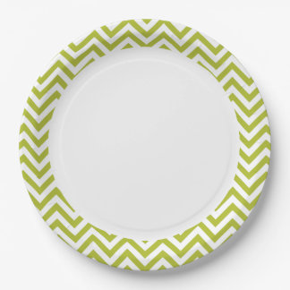 Green and White Zigzag Stripes Chevron Pattern Paper Plate