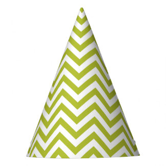 Green and White Zigzag Stripes Chevron Pattern Party Hat