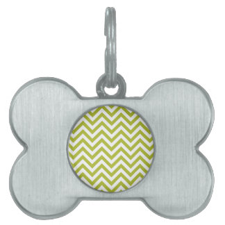 Green and White Zigzag Stripes Chevron Pattern Pet Tag