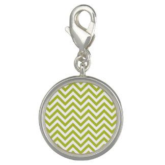 Green and White Zigzag Stripes Chevron Pattern Photo Charm