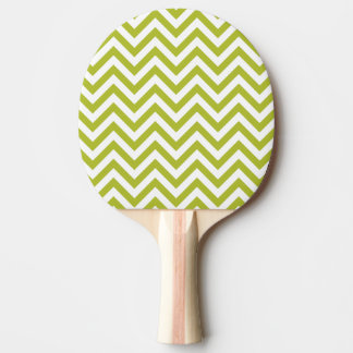 Green and White Zigzag Stripes Chevron Pattern Ping Pong Paddle