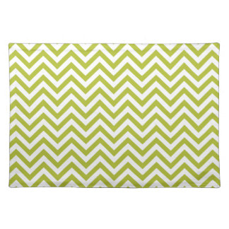 Green and White Zigzag Stripes Chevron Pattern Placemat
