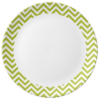 Green and White Zigzag Stripes Chevron Pattern Plate