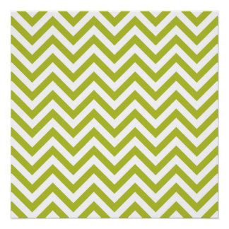 Green and White Zigzag Stripes Chevron Pattern Poster