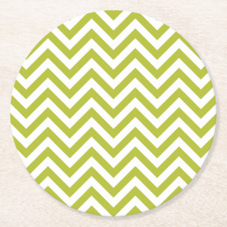 Green and White Zigzag Stripes Chevron Pattern Round Paper Coaster