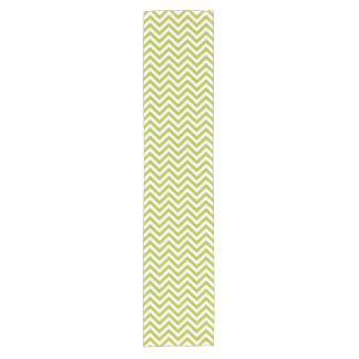 Green and White Zigzag Stripes Chevron Pattern Short Table Runner