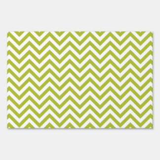 Green and White Zigzag Stripes Chevron Pattern Sign