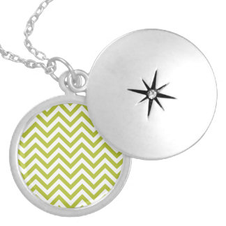 Green and White Zigzag Stripes Chevron Pattern Silver Plated Necklace