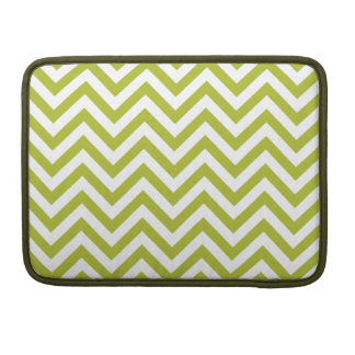 Green and White Zigzag Stripes Chevron Pattern Sleeve For MacBooks
