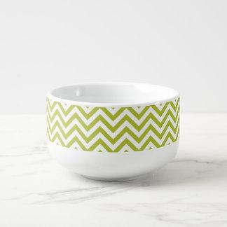 Green and White Zigzag Stripes Chevron Pattern Soup Mug