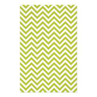 Green and White Zigzag Stripes Chevron Pattern Stationery