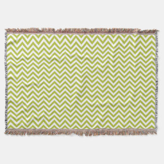 Green and White Zigzag Stripes Chevron Pattern Throw Blanket