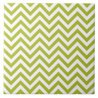 Green and White Zigzag Stripes Chevron Pattern Tile